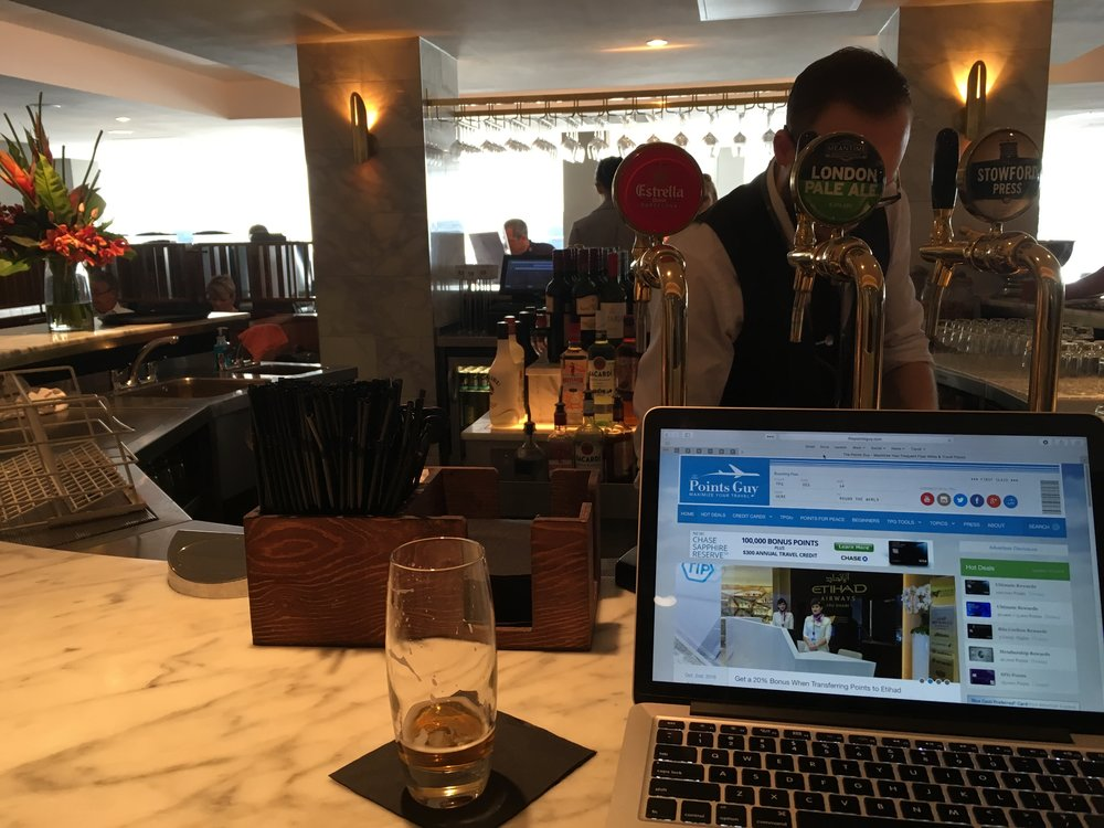 Working from the No1 Lounge at Gatwick.