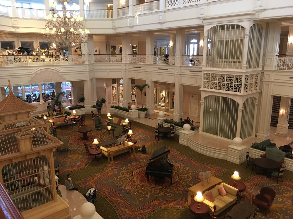 The grand lobby of the Grand Floridian.