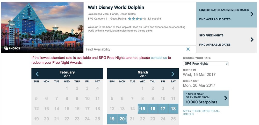 A sample Dolphin booking at 10,000 Starpoints per night