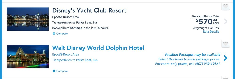 What trying to book the Dolphin at the Disney website looks like