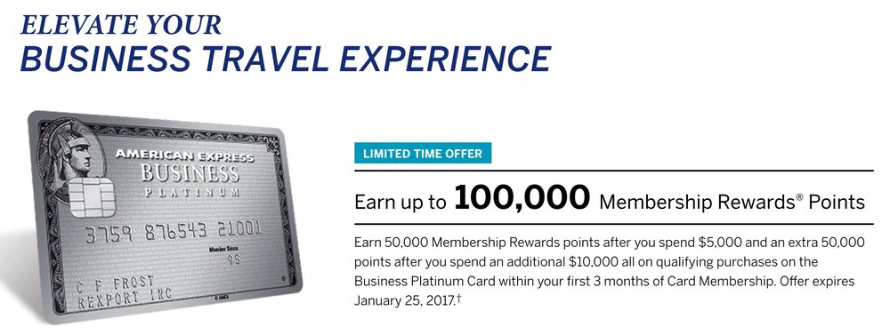 A 100,000 points offer for the Amex Business Platinum