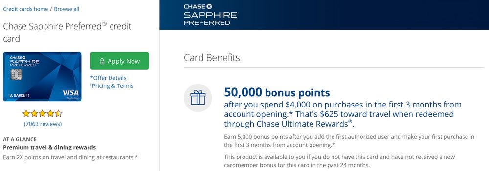 The Chase Sapphire Preferred has had this signup bonus for quite some time now.