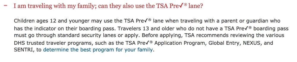 TSA's policy regarding PreCheck and children