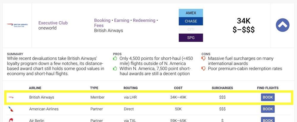 Hefty British Airways surcharges noted.
