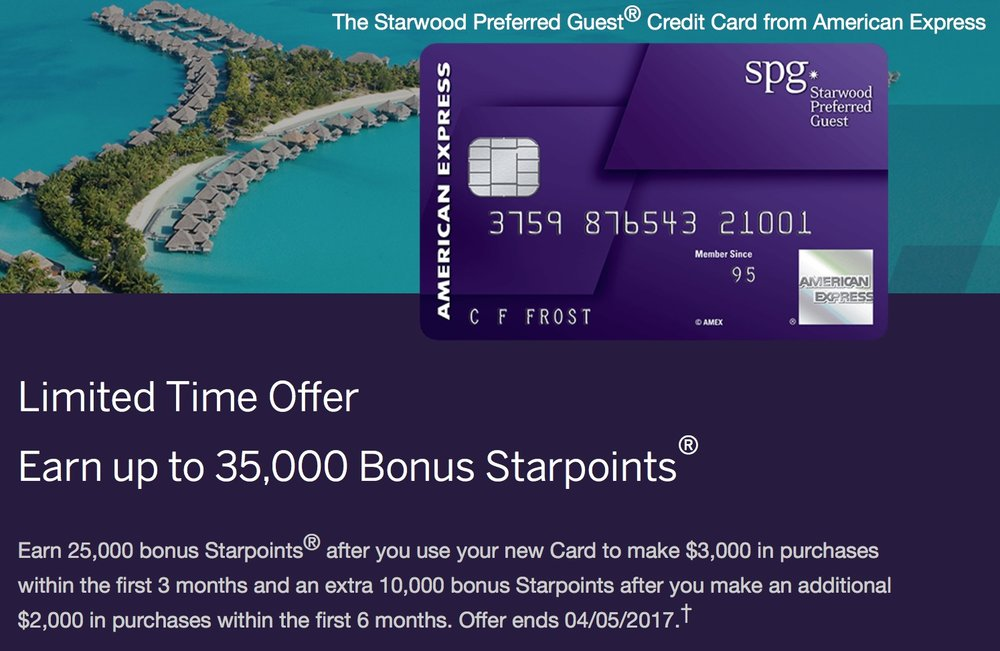 We're back to the SPG Amex this month because of the awesome 35,000 Starpoint signup bonus!