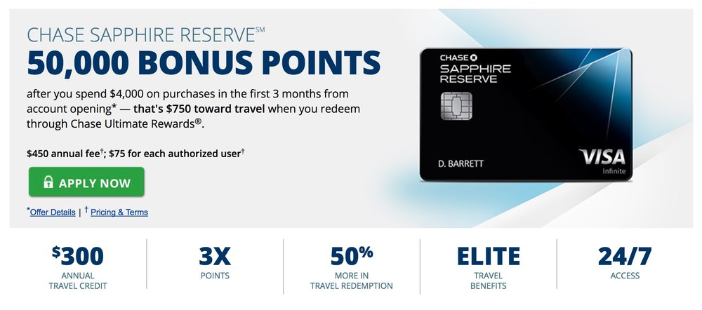 The current Chase Sapphire Reserve signup offer