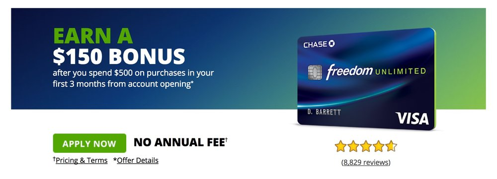 The Chase Freedom unlimited offers $150 back for $500 spend in 3 months. If you want it, get it, but it's not really something that has to be flashing in your radar.