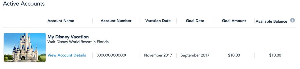 My Disney Vacation Account has just $10 in it, and will until my next Disney vacation.
