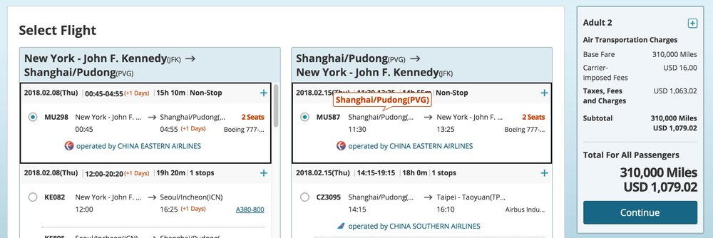 Nonstop JFK to PVG on China Eastern with Skymiles