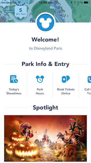 "Disney Paris App - ""Welcome!"" Page"