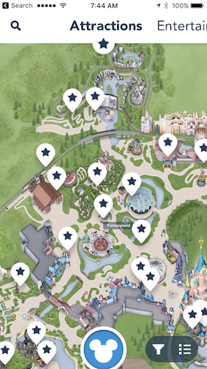 "Disney Paris App - Guide (""Attractions"" Sub-Page)"