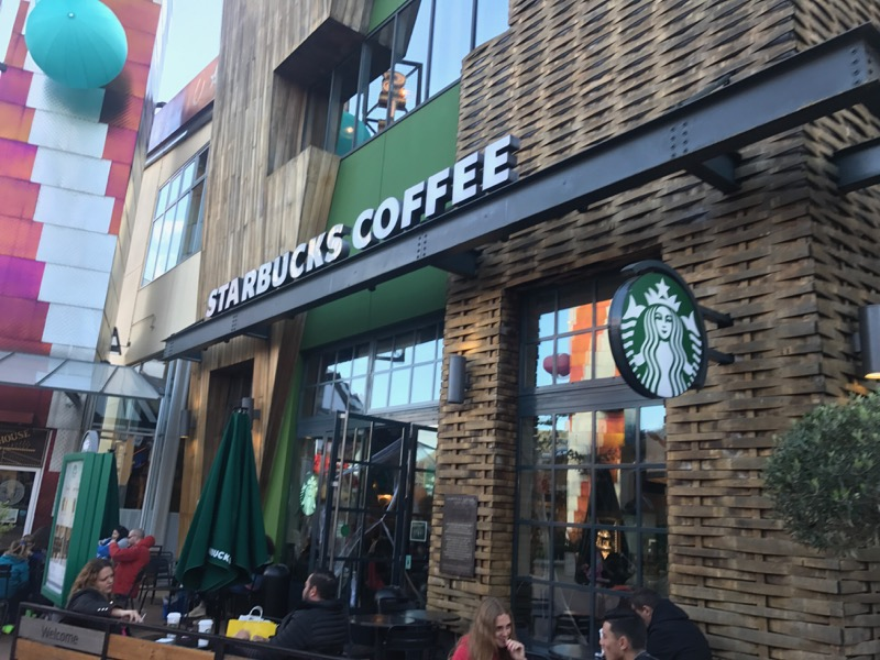If you need a fix, the Starbucks in Disney Village is your best bet.