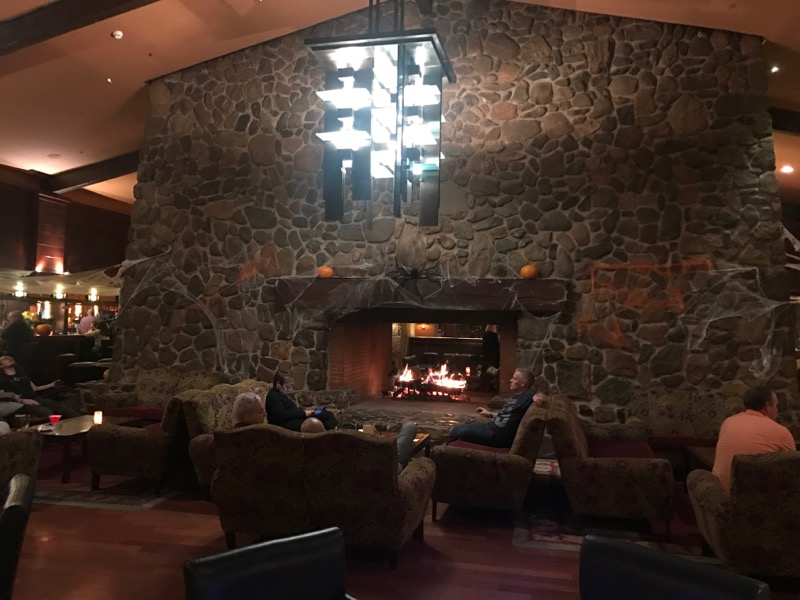 The fireplace at Redwood Bar and Lounge!