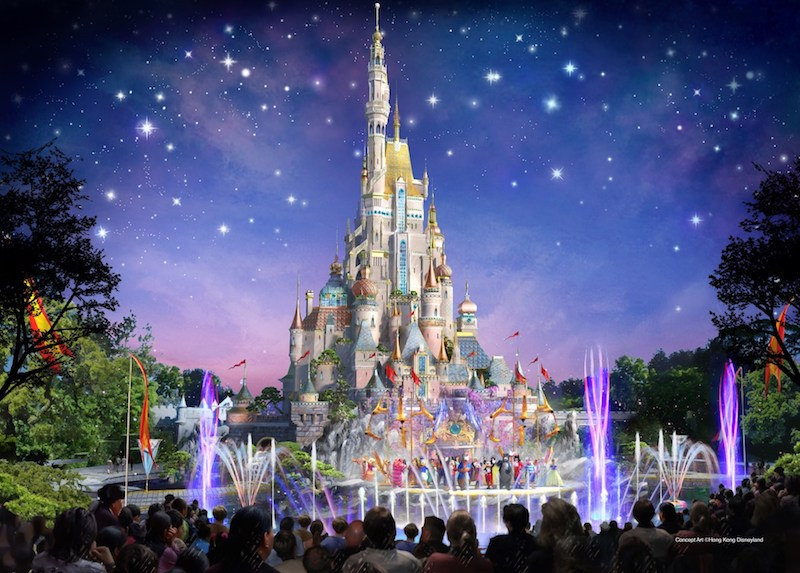 Rendering of the upcoming castle at Hong Kong Disneyland.