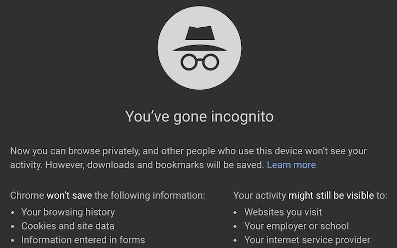 "A Google Chrome ""incognito"" window."
