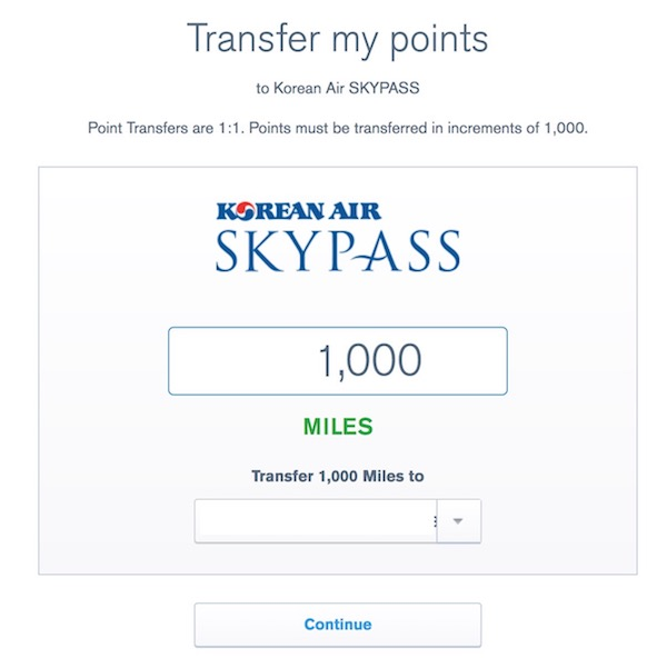You can transfer Chase Ultimate Rewards points to Korean Air Skypass