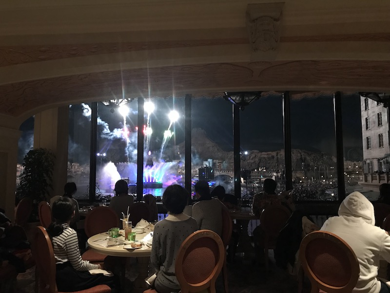 Fantasmic! as viewed from the bar at Tokyo DisneySea Hotel MiraCosta's BellaVista Lounge.