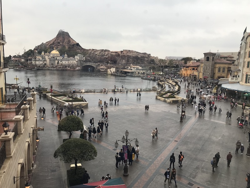Our view into the park from a Tokyo DisneySea Hotel MiraCosta Porto Paradiso Harbor View room.