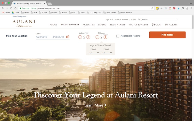 Go ahead and start your booking adventure at the Aulani website.