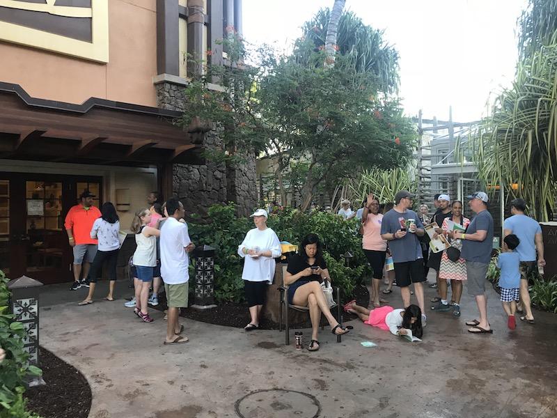 The 7AM line at Aunty's Beach House