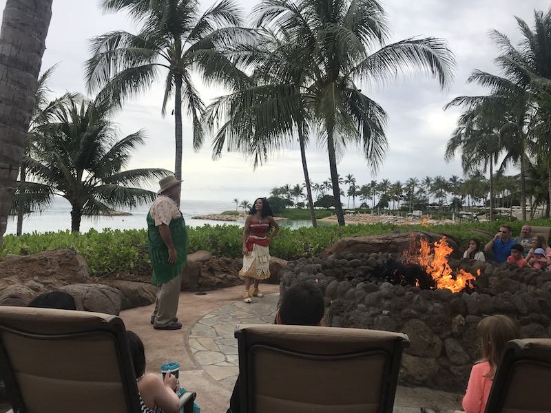 Fire-pit storytelling with Uncle and Moana!
