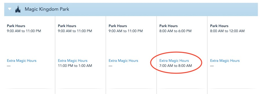 A sample park schedule with morning Extra Magic Hours circled.