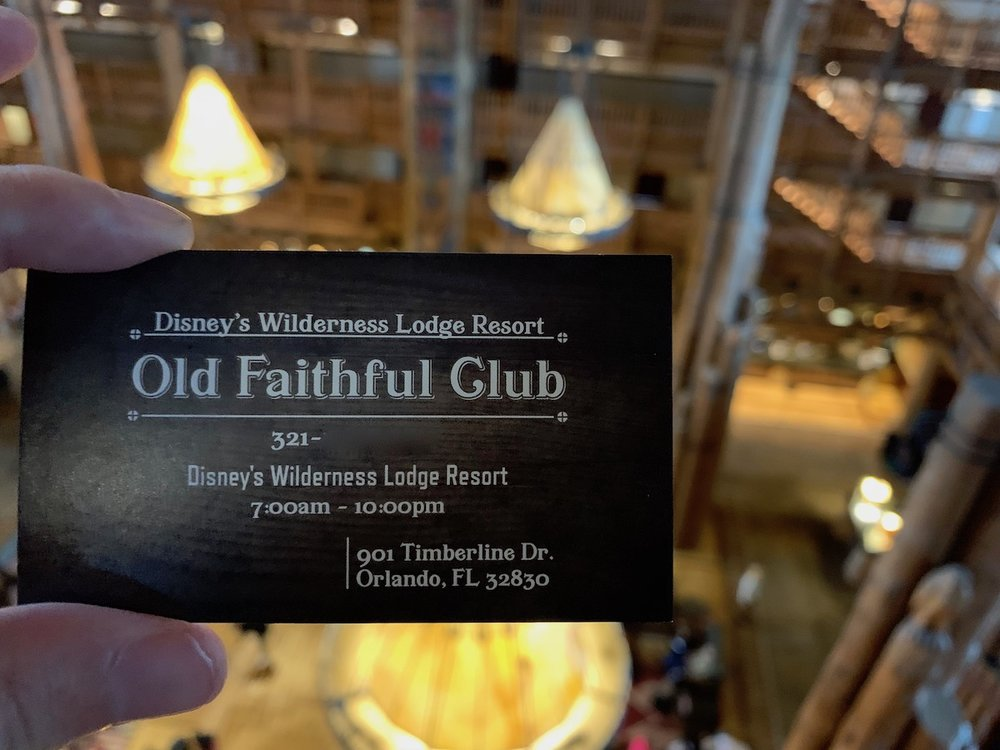 Business cards handed out by the Old Faithful Club staff.