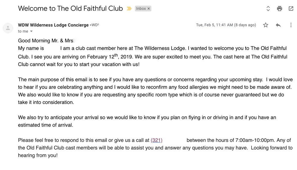 Email from the Old Faithful Club staff.