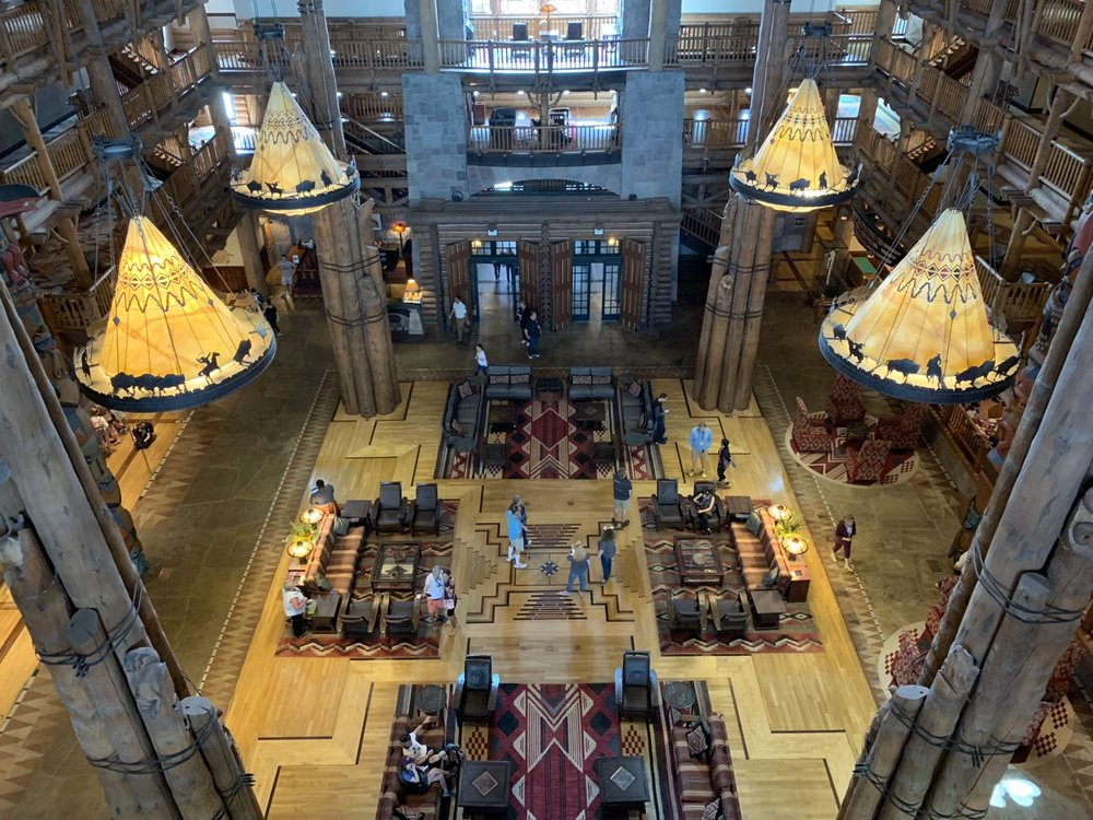 The view of the Wilderness Lodge lobby from the Old Faithful Club