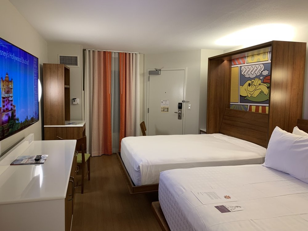A room at Pop Century with the Murphy bed down