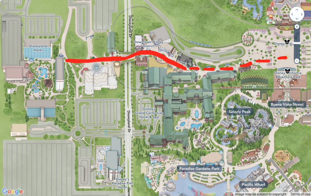 Grand Californian is about halfway between Disneyland Hotel and the parks
