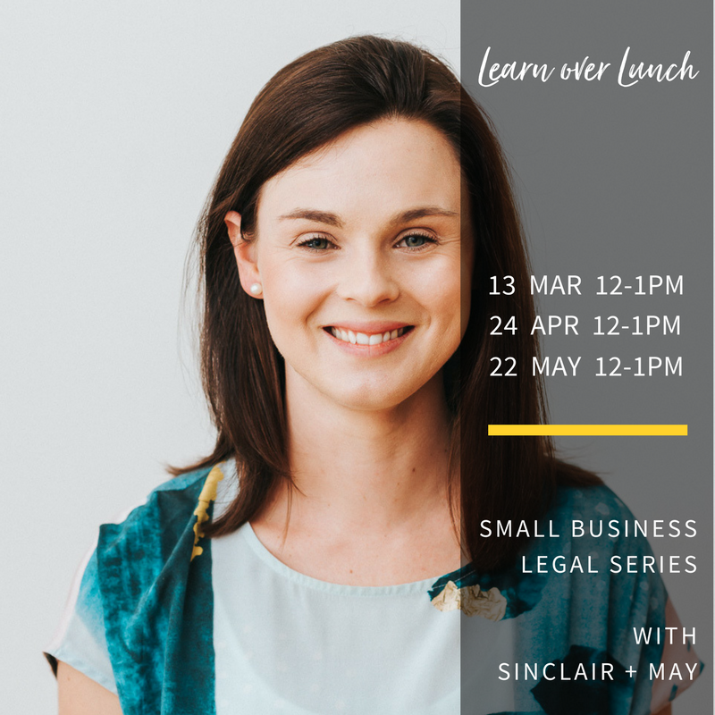 Complimentary small business legal series - for event details and to book visit Eventbrite...