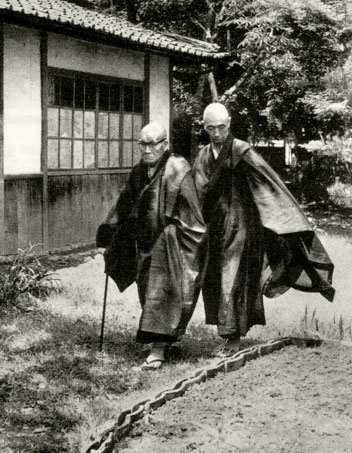 Kodo Sawaki Roshi and Kosho Uchiyama Roshi walking in the garden at Antaiji Temple in Kyoto, Japan in the 1960's.