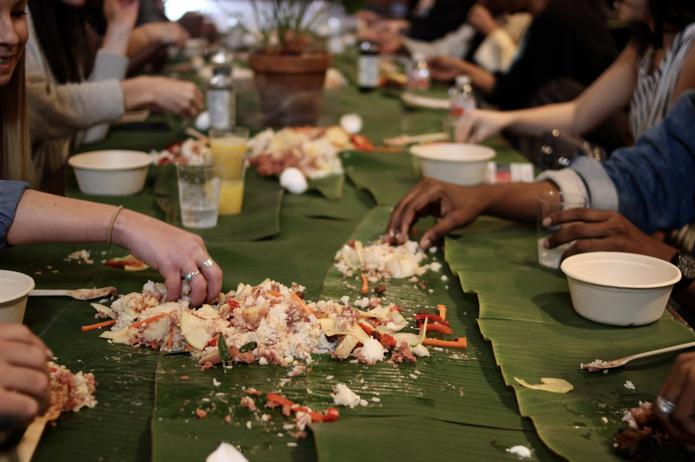 Brunch was Filipino food eaten without utensils
