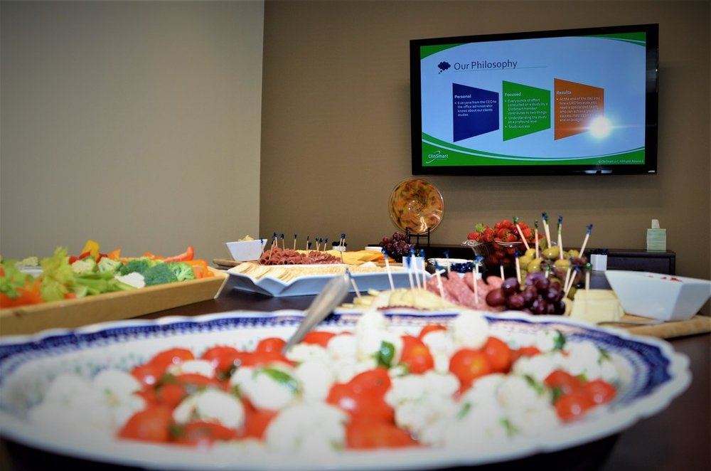 Hor d'Oeuvres at the event with ClinSmart info in the background