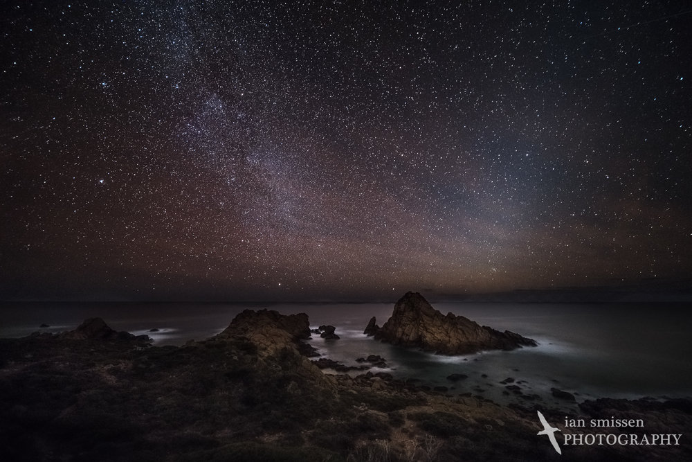 Night sky over Sugarloaf Rock