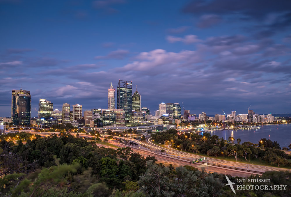 Perth skyline from Kings Park, early evening