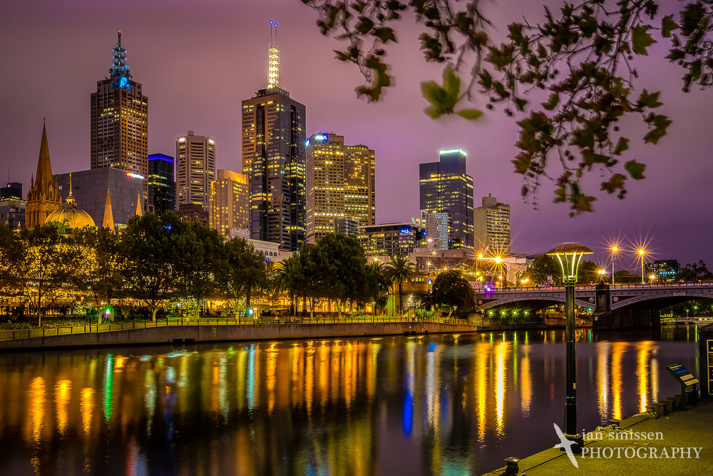 Melbourne city skyline at dusk