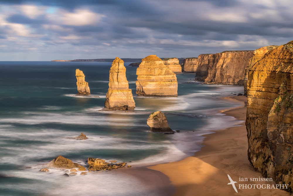 Early morning sun hits the 12 Apostles