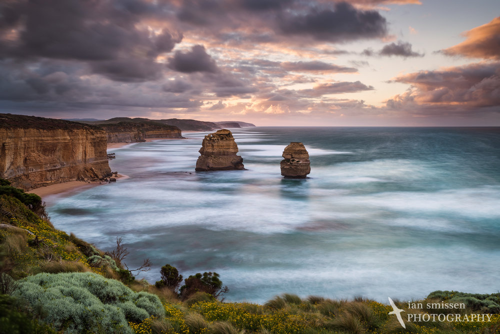 Early morning view east at the 12 Apostles