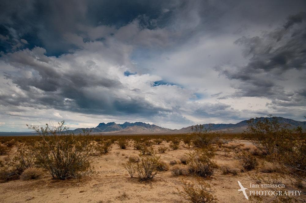 Storm building over Mojave Desert