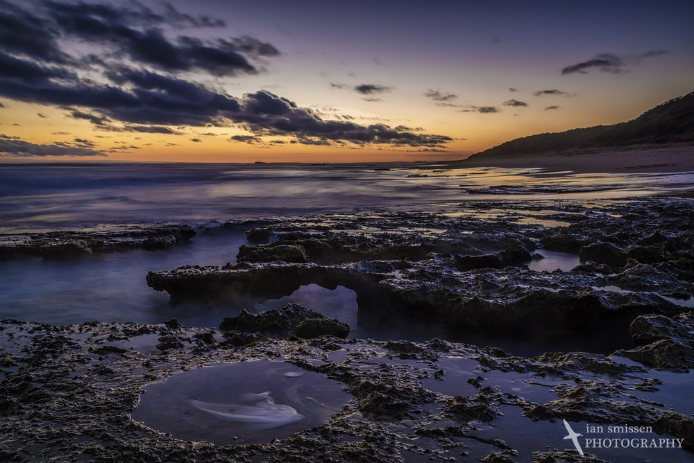 Rock pools after sunset