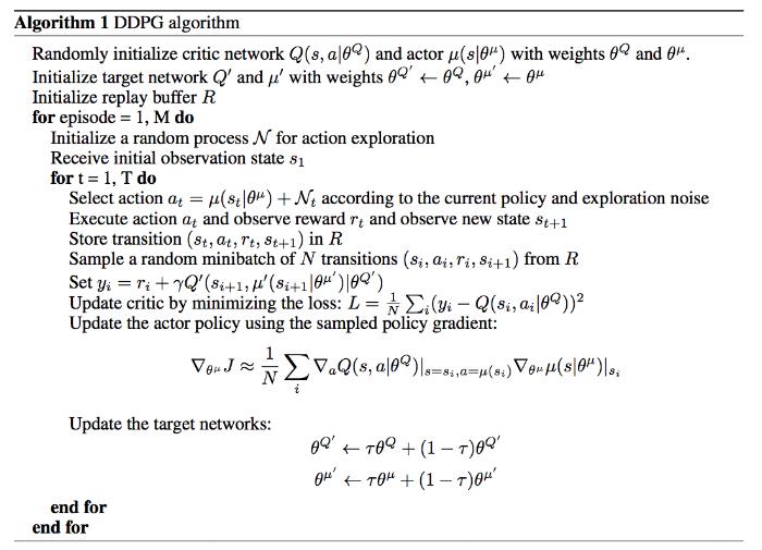 """Source:Lillicrap, Timothy P., et al. """"Continuous control with deep reinforcement learning."""""""
