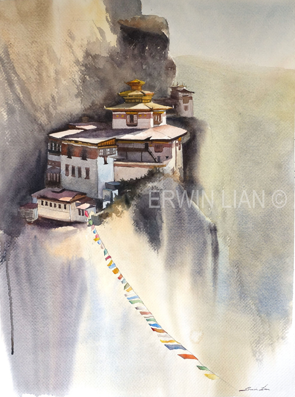 Tiger's Nest, 54cm x 74 cm, Transparent Watercolor