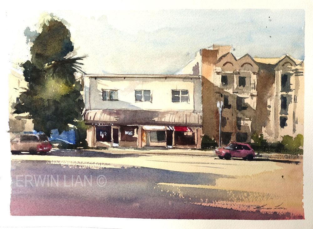 Pasadena CIty, 33 cm x 23 cm, Transparent Watercolor