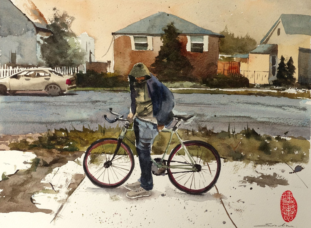 Cyclist in the hood, 30.5 cm x 23 cm, Transparent Watercolor