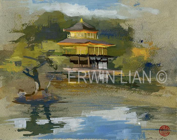 Kinkaku-ji, 25.5 cm x 20.4 cm, Watercolor & Gouache