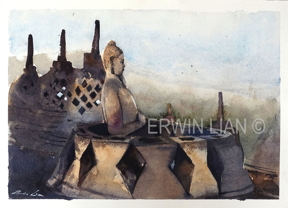 Sunrise in Borobudur, 33 cm x 23 cm, Transparent Watercolor