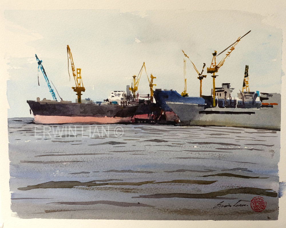 Ships by Sembawang, 26.5 cm x 20 .5 cm, Transparent Watercolor