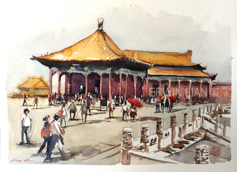 Forbidden City, 33 cm x 23 cm, Transparent Watercolor